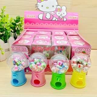 (Instocks now)12 pcs of Brand New Hello Kitty Mini Eraser Dispenser / Children Day / Prize / Goodie bag / Birthday / Kids / Presents / Disney / Cartoon