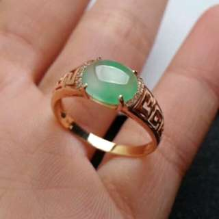 🎇18K Gold - Grade A 冰种 Icy Green Floral Cabochon Jadeite Jade Ring🎇