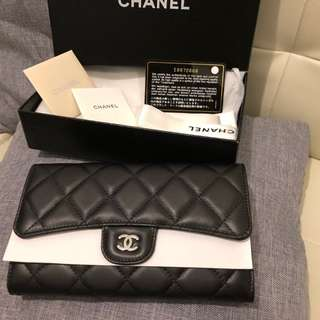 Authentic CHANEL L Flap Wallet - Classic Trifold Long Wallet Lambskin Black & Burgandy Silver Buckle