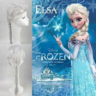 New Disney Princess Frozen Elsa Silver Ponytail Cosplay Wigs 公主假髮