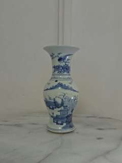 Republic period blue and white vase with underglaze blue painting landscape mountain and water height 21cm perfect condition