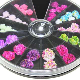 Black Large Size Wheel Nail Art 12 Color For Charms Nail Flowers Mixed Design Manicure Studs Supplies ZP210
