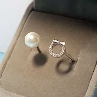 [READY STOCK] [FREE SIZE] Pearl Ring, diamond ring, ribbon ring