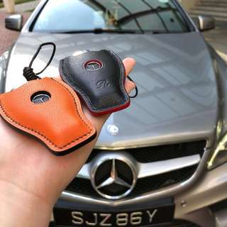 Handmade handstitched Mercedes keypouch in Hermès chèvre leather for his c250