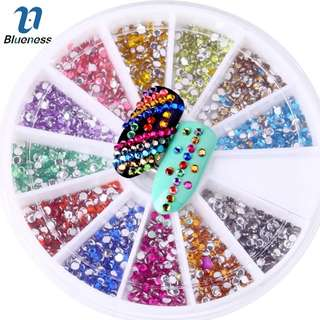 Blueness 1Wheel 12Colors Acrylic 2mm Nails Art Rhinestones Decorations For Nails UV Gel Polish Manicure DIY Crystal Studs ZP047
