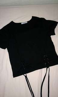 Black shoelace tie top