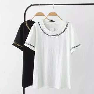 (XL~4XL) Women Fashion Gold Leaf Embroidery Cotton T-Shirt