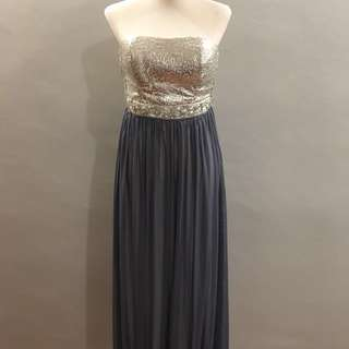 Gray tube long gown