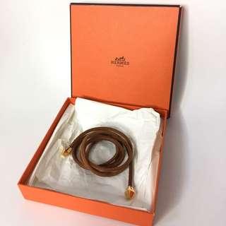真品 只用一次近全近 Hermes leather necklace 多用途真皮頸鏈可當腰鏈手鏈