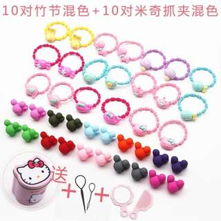 40 kids hair bands hair clips + FREE Hello Kitty container hair tool mirror