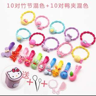 40 kids hairbands hairclips FREE Hello Kitty container hair styling tools comb