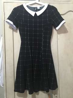 H&M Black and White Grid Dress
