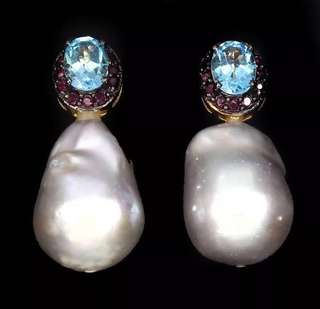 CLASSIC!! Silver baroque pearl earrings with blue topaz /ruby