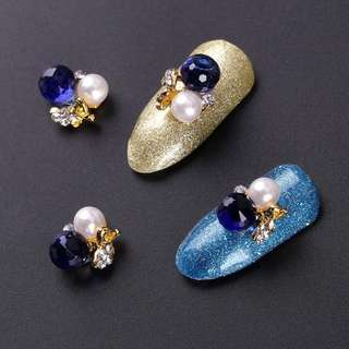 5Pcs/Lot Blue Charms 3D Crystal Balls Design Nails Art Rhinestones Accessory Manicure Alloy Studs Tips DIY Decorations TN2165