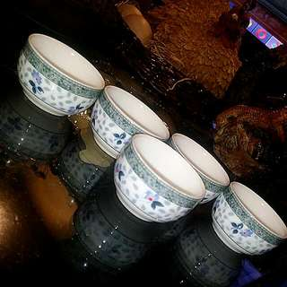 5pcs Chinese Vintage  Porcelain Teacups