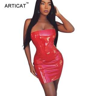 Meshki Inspired Red Latex Dress