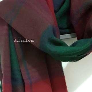 紅綠 仿羊絨 格仔 頸巾 scarf