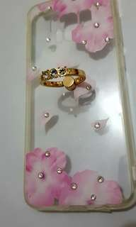 S8 Floral Transparent Phone case with 3-diamond gold phone ring holder