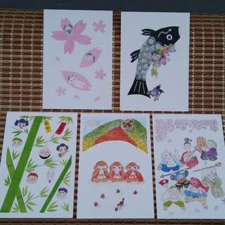 Ogura-ya Japan theme postcards (5pcs)