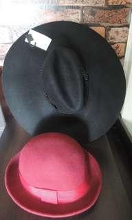 Wool Brim Bowler Fedora Cap & H&M Large Wool Belded Fedora Hat