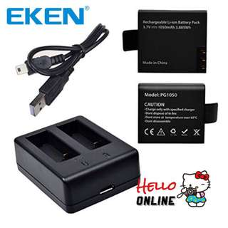 ORIGINAL EKEN 2PCS BATTERY + DUAL CHARGER  for Eken V8S H8S H6S H5S H8R H3R H9R