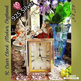 """Vintage """"R.Carr"""" made-in-England battery Rectangular Table Clock with Beautiful 925 Silver Rim & Quality Leather back. Good Condition, working. $38 clearance offer! sms 96337309."""