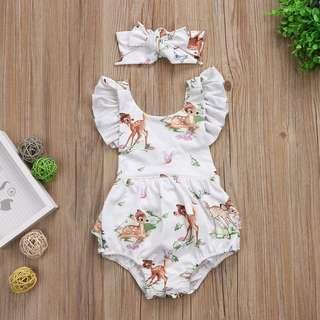 🦁Instock - 2pc Bambi set, baby infant toddler girl children glad cute 123456789 lalalala