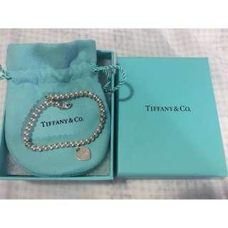 Tiffany & Co Sterling Silver Mini Heart Bead Bracelet Preloved Genuine with Original Box