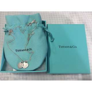 Tiffany & Co Sterling Silver Mini Double Heart Tag Pendant Preloved Original Box