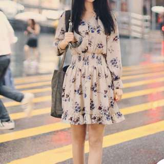 YESSTYLE Long-Sleeved Floral Print Chiffon Dress