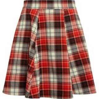 Glamorous Red Checkered Flare Skirt