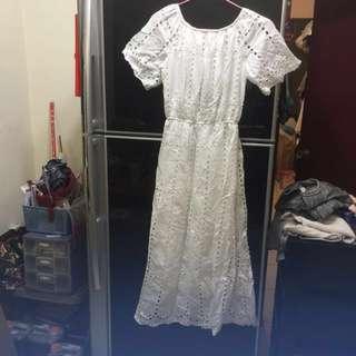 🚚 氣質款 全白一字領洋裝