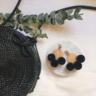 Delxie Gold Plated Pompom Earrings