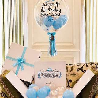 Surprise box with bubble balloons