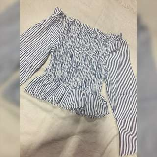 Stripe Sabrina Crop