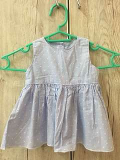 Baby dress blue with white polkadot