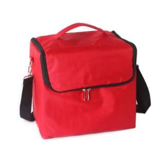 5 layers Huge makeup box with strap RED