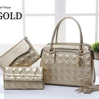 Dior 3 in 1 Set Handbag Gold Color