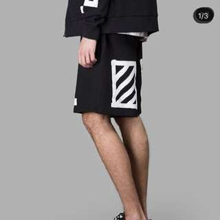 Off white striped sweat shorts  Size: M  Color: Black