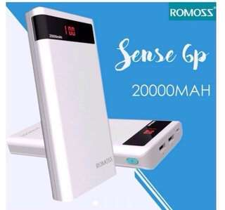 Original Romoss Sense 6P 20000mAh Dual Output LED Display Power Bank (White
