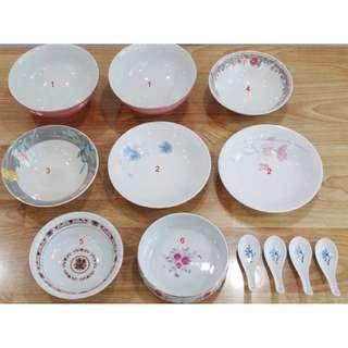Porcelain Bowls, Spoons
