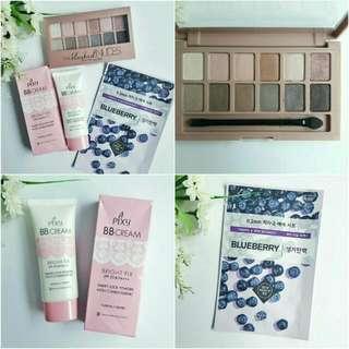 MAYBELLINE The Blushed Nudes Eyeshadow Palette + Pixy BB Cream + Etude House Mask