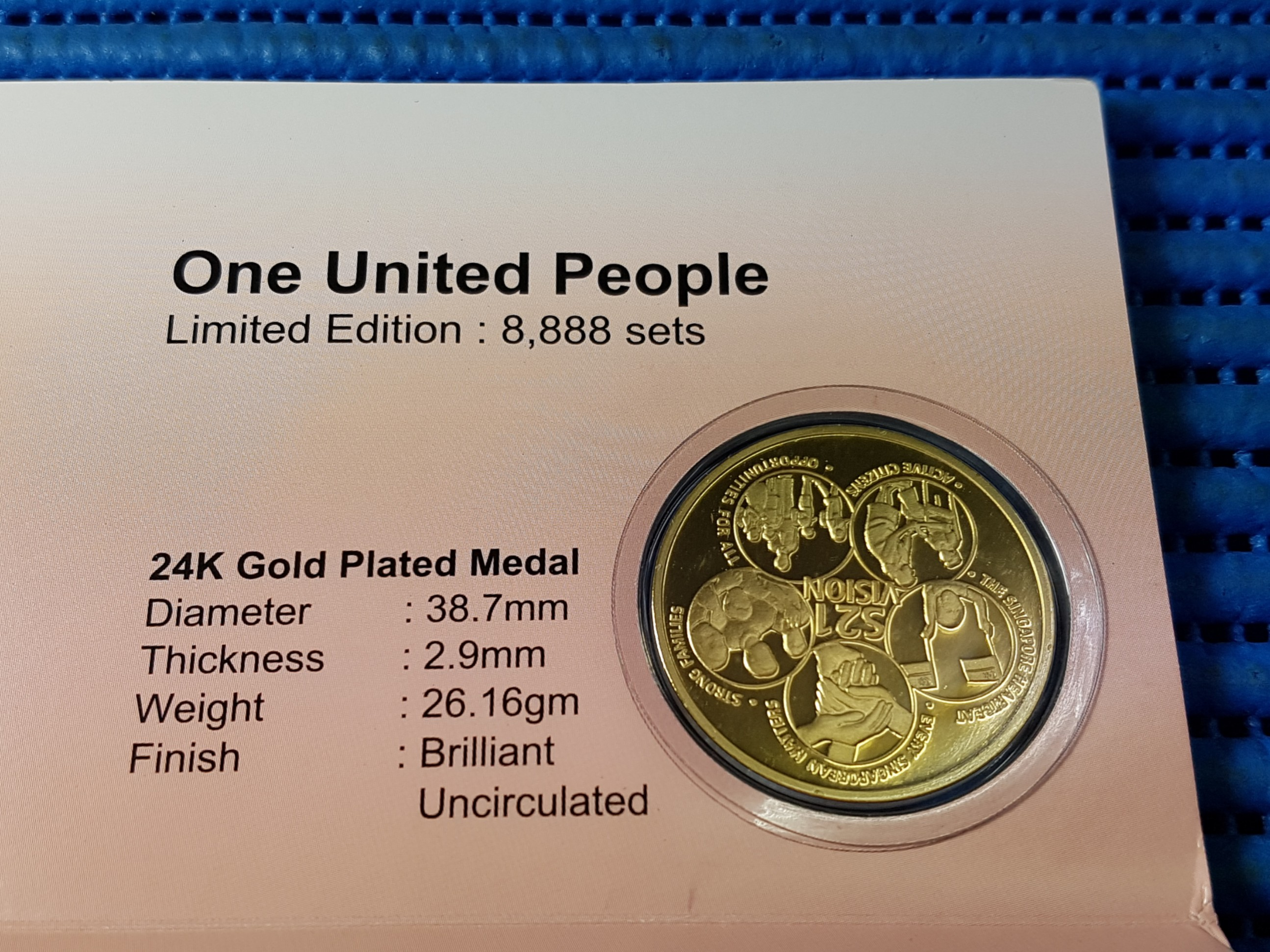 gold ndp vintage unci day united medallion singapore people p brilliant uncirculated one plated police national parade dia