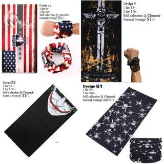 Bandana: 1 for $4/- and 3 for $10/- (Many other cool designs available)