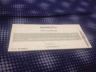 Swatch gift certificate worth 4000 php