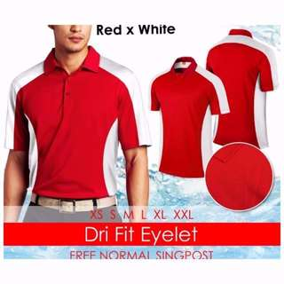 PO: Red White Dry Fit Eyelet Polo Tee Shirt Top BNIP