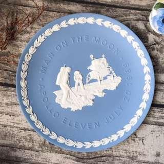 英國Wedgwood Jasper 水藍碧玉浮雕1969年人類首度登陸月球紀念大型盤飾