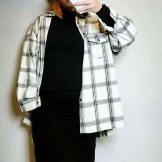 黑白色格子紋長袖oversize大碼外套襯衫長版上衣