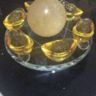 Crystal Citrine with 6 Yuan Bao