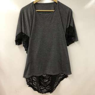 AT gray with black see through long tee size 38